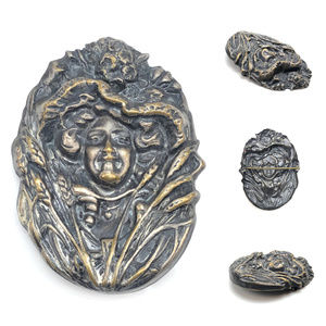 Jewelry - Art Nouveau lady figural metal brooch